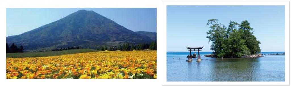 山の小林市と海の能登町イメージ